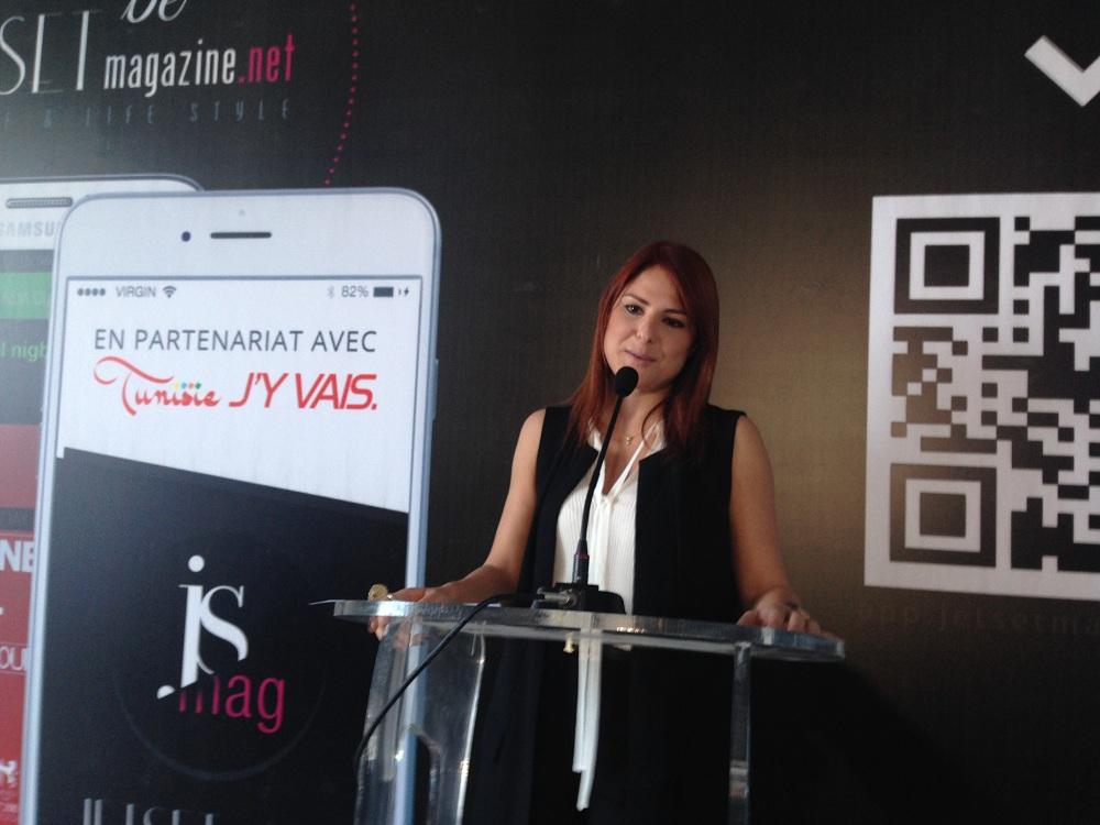 Neila Azouz lors de la conférence de lancement de l'application JS Mag.