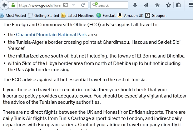Tunisia FCO Advice