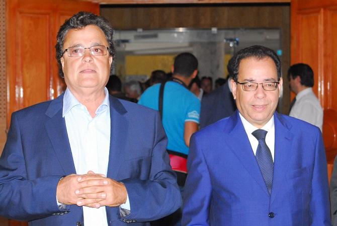 L'hôtelier Saïd Boujbel et le président de l'Association tunisienne des banques, Ahmed El Karm.