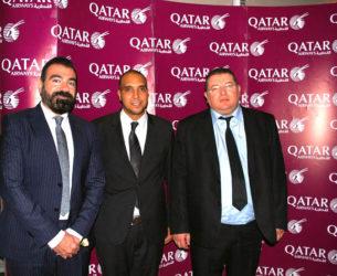 De droite à gauche, Riadh Hajjem, représentant Qatar Airways pour la Tunisie, Moez Tebbini (Commercial et Marketing Tunis) et Khaled Aylouch (Communication à Qatar).